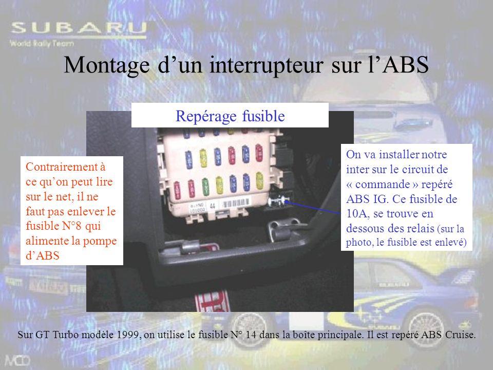 Montage dun interrupteur sur lABS Repérage fusible Contrairement à ce quon peut lire sur le net, il ne faut pas enlever le fusible N°8 qui alimente la pompe dABS On va installer notre inter sur le circuit de « commande » repéré ABS IG.