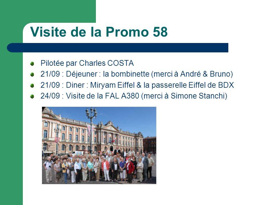 Visite de la Promo 58 Pilotée par Charles COSTA 21/09 : Déjeuner : la bombinette (merci à André & Bruno) 21/09 : Diner : Miryam Eiffel & la passerelle Eiffel de BDX 24/09 : Visite de la FAL A380 (merci à Simone Stanchi)