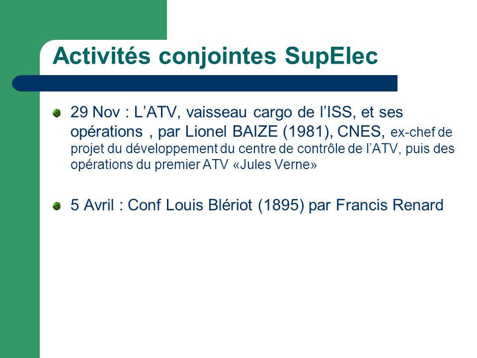 Activités conjointes SupElec 29 Nov : LATV, vaisseau cargo de lISS, et ses opérations, par Lionel BAIZE (1981), CNES, ex-chef de projet du développement du centre de contrôle de lATV, puis des opérations du premier ATV «Jules Verne» 5 Avril : Conf Louis Blériot (1895) par Francis Renard