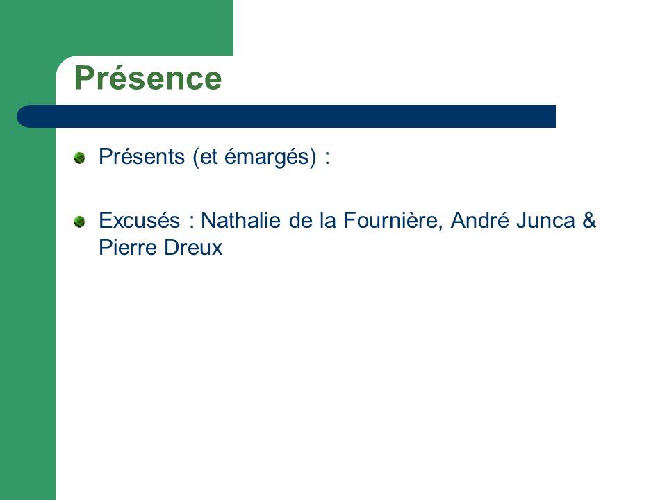 Présence Présents (et émargés) : Excusés : Nathalie de la Fournière, André Junca & Pierre Dreux