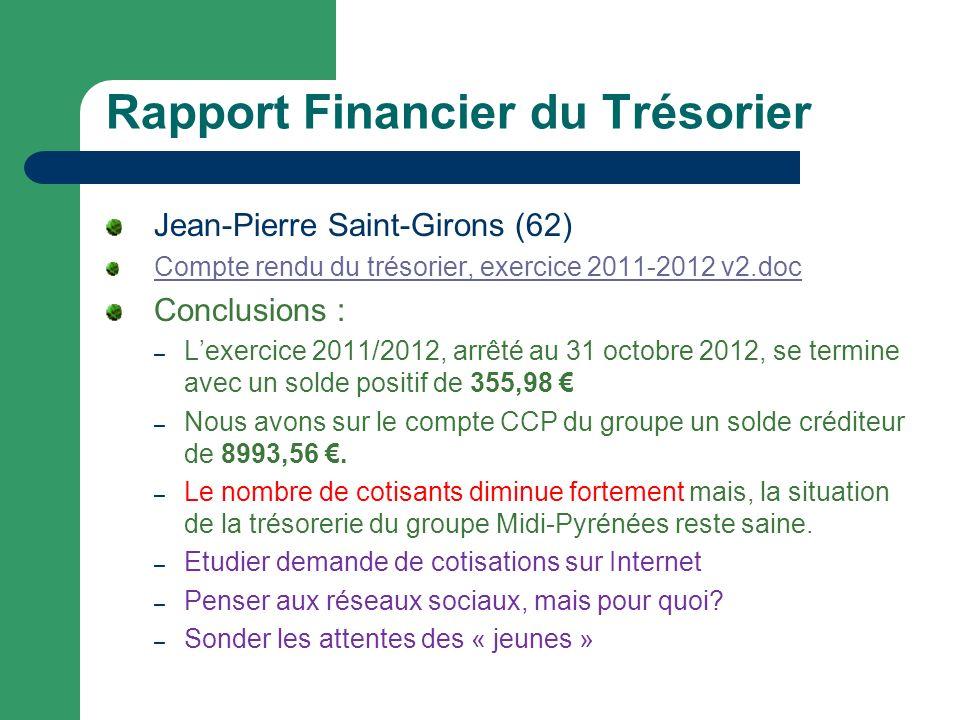 Rapport Financier du Trésorier Jean-Pierre Saint-Girons (62) Compte rendu du trésorier, exercice 2011-2012 v2.doc Conclusions : – Lexercice 2011/2012, arrêté au 31 octobre 2012, se termine avec un solde positif de 355,98 – Nous avons sur le compte CCP du groupe un solde créditeur de 8993,56.