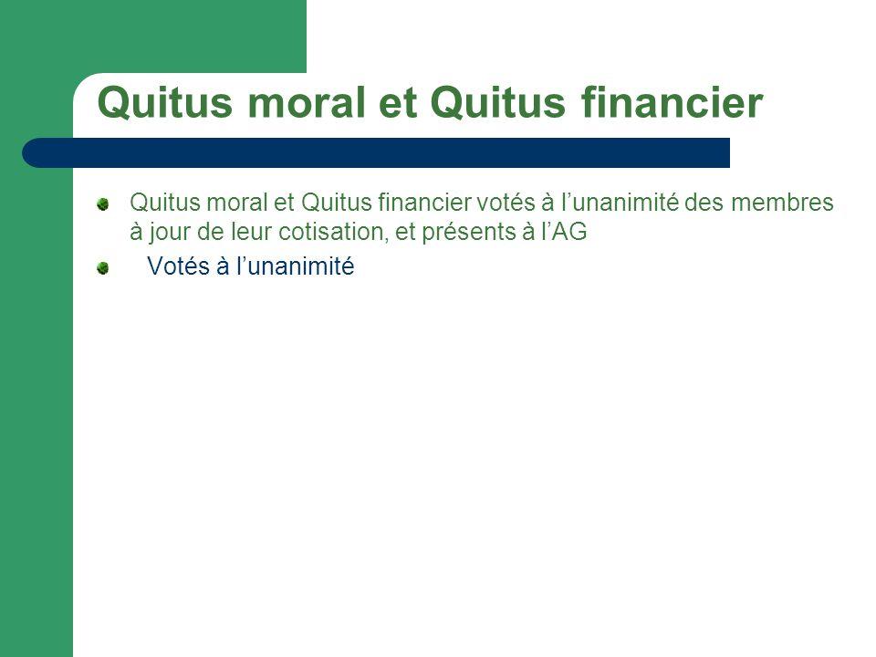 Quitus moral et Quitus financier Quitus moral et Quitus financier votés à lunanimité des membres à jour de leur cotisation, et présents à lAG Votés à lunanimité