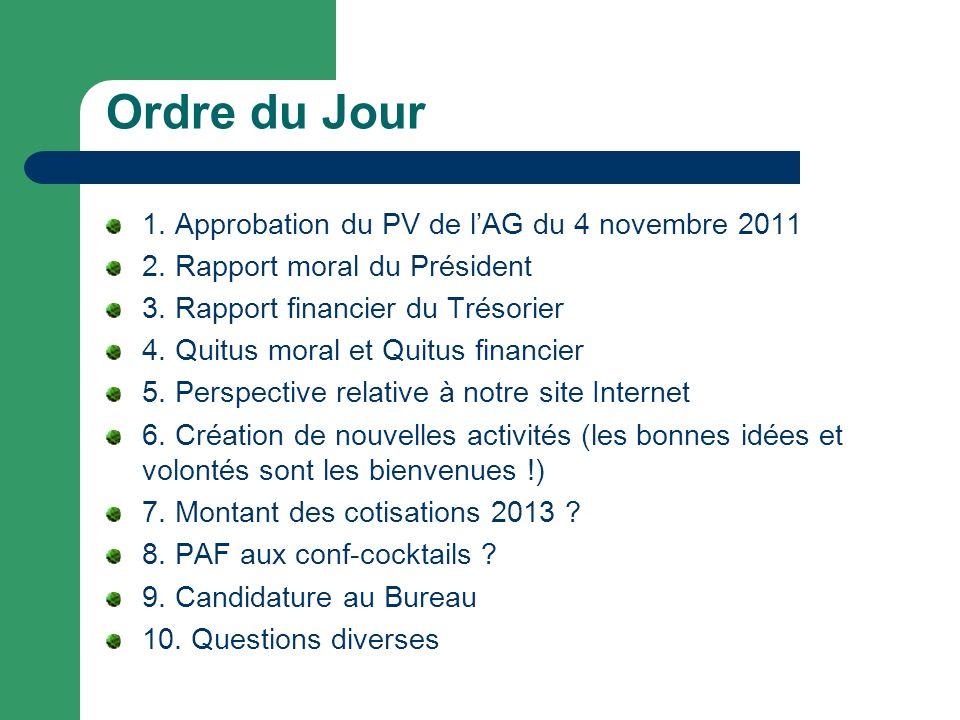 Ordre du Jour 1. Approbation du PV de lAG du 4 novembre 2011 2.