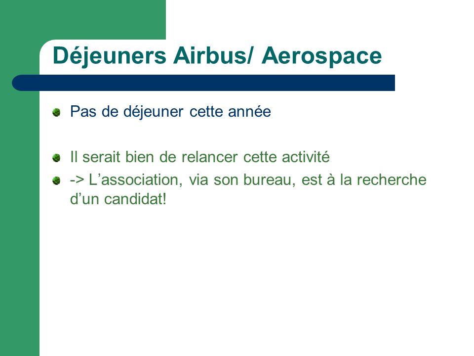 Déjeuners Airbus/ Aerospace Pas de déjeuner cette année Il serait bien de relancer cette activité -> Lassociation, via son bureau, est à la recherche dun candidat!