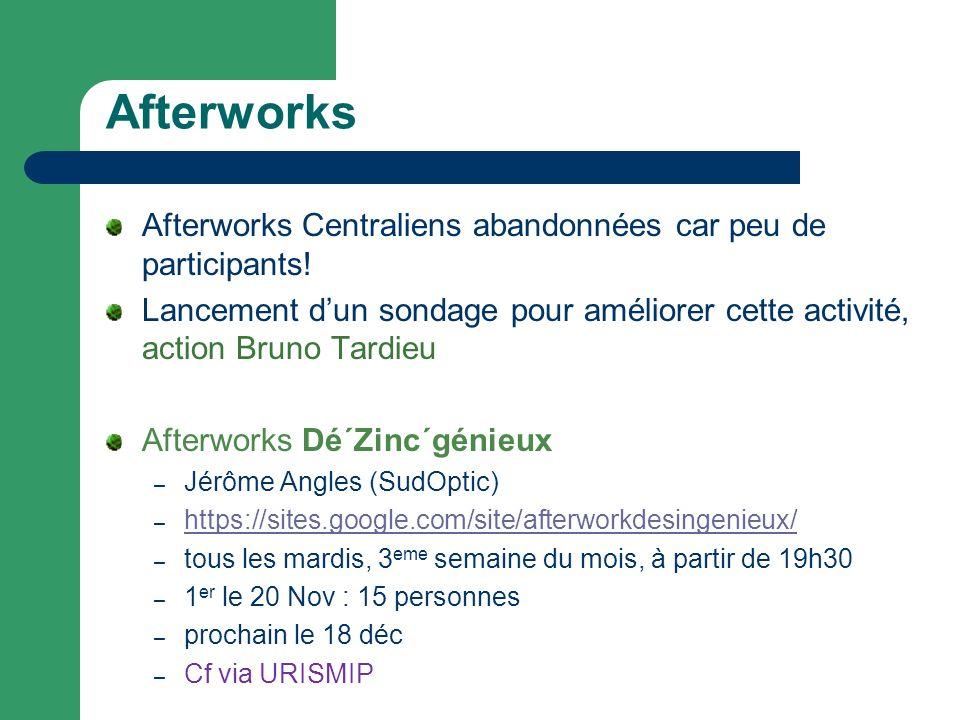 Afterworks Afterworks Centraliens abandonnées car peu de participants.