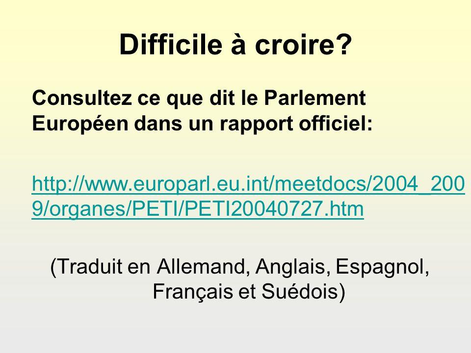 Difficile à croire? Consultez ce que dit le Parlement Européen dans un rapport officiel: http://www.europarl.eu.int/meetdocs/2004_200 9/organes/PETI/P