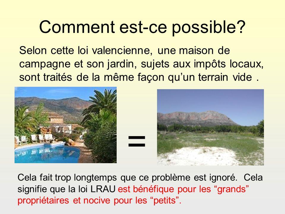 Comment est-ce possible? Selon cette loi valencienne, une maison de campagne et son jardin, sujets aux impôts locaux, sont traités de la même façon qu