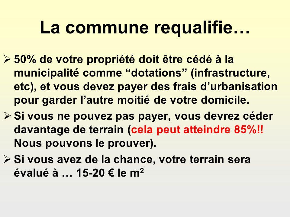 La commune requalifie… 50% de votre propriété doit être cédé à la municipalité comme dotations (infrastructure, etc), et vous devez payer des frais durbanisation pour garder lautre moitié de votre domicile.