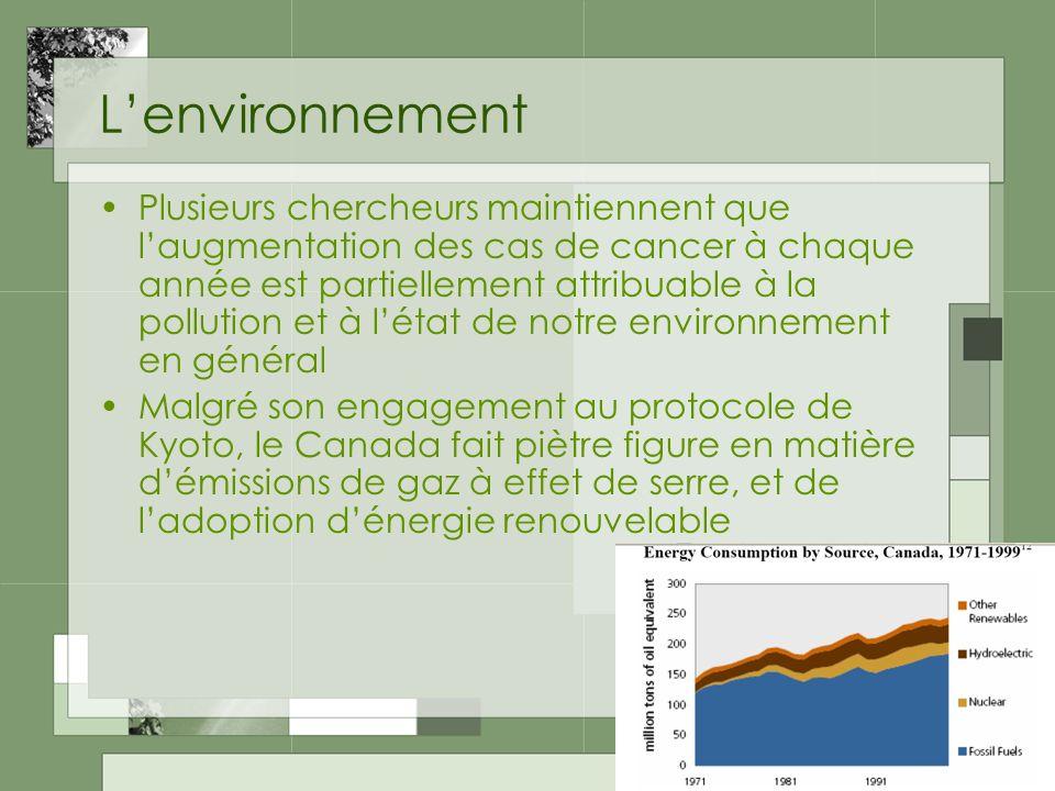 Lenvironnement Plusieurs chercheurs maintiennent que laugmentation des cas de cancer à chaque année est partiellement attribuable à la pollution et à létat de notre environnement en général Malgré son engagement au protocole de Kyoto, le Canada fait piètre figure en matière démissions de gaz à effet de serre, et de ladoption dénergie renouvelable