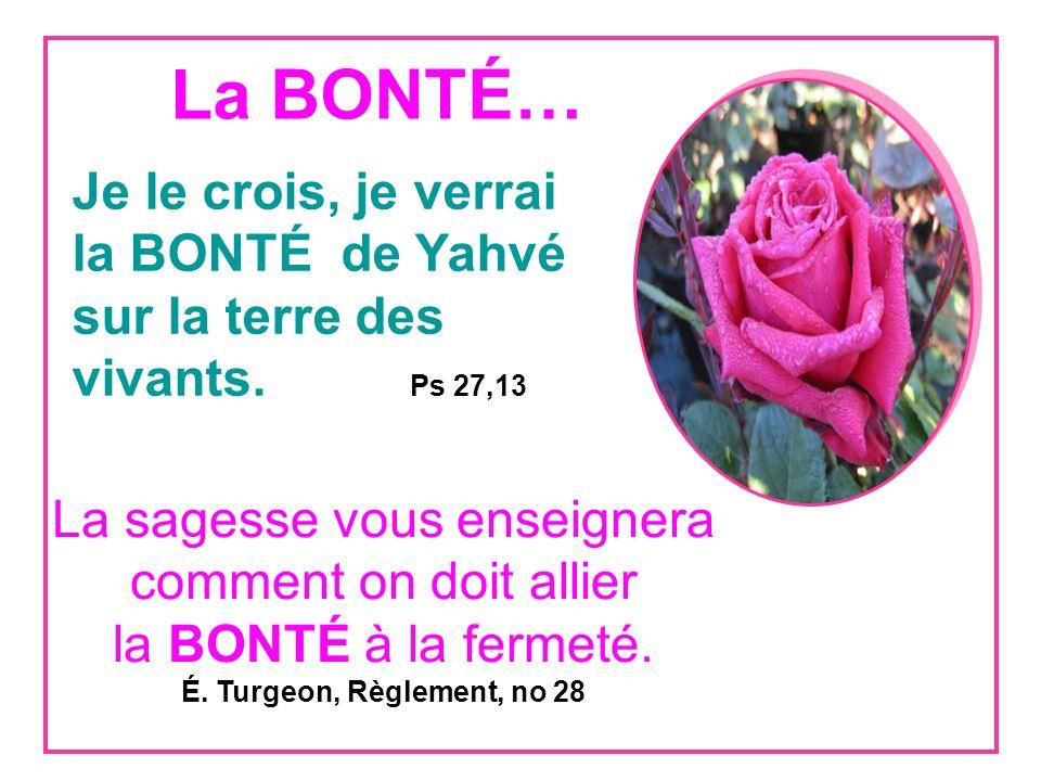 La BONTÉ… Je le crois, je verrai la BONTÉ de Yahvé sur la terre des vivants.