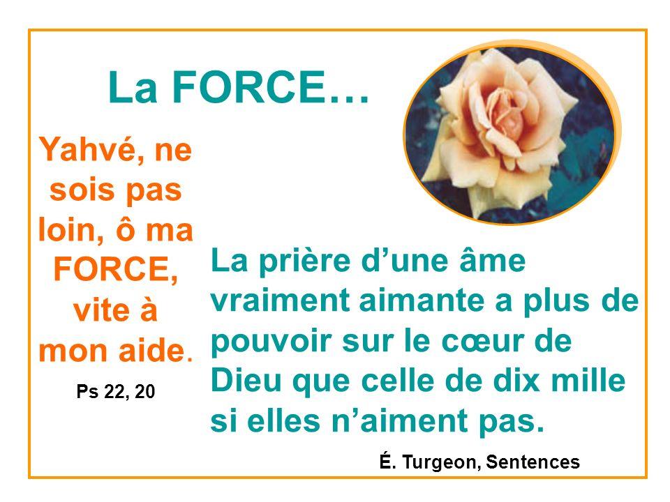 La FORCE… Yahvé, ne sois pas loin, ô ma FORCE, vite à mon aide.