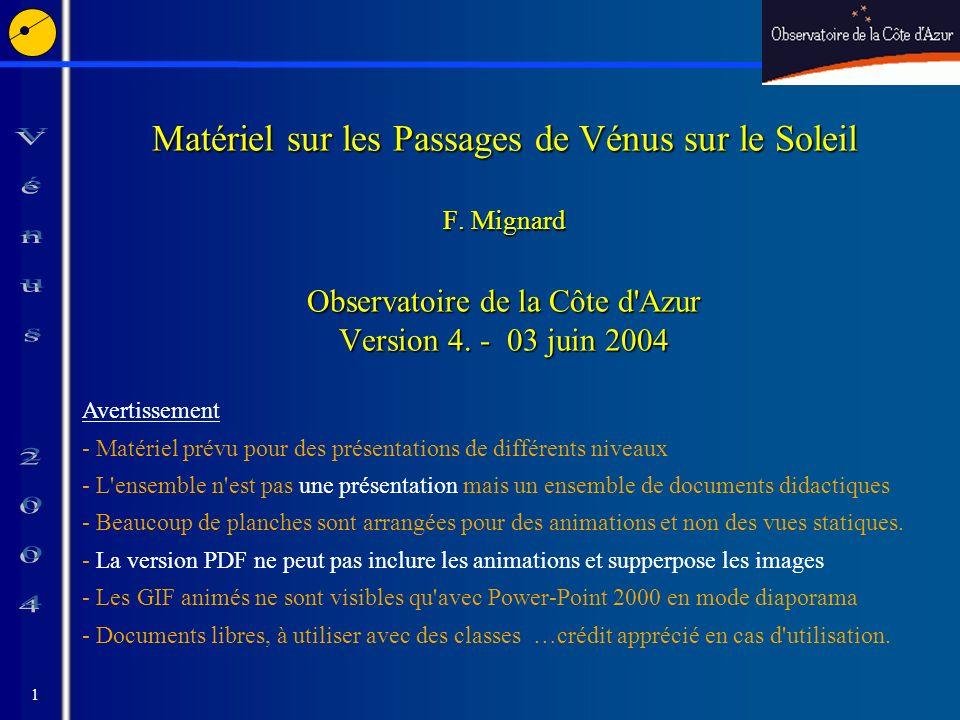 1 Matériel sur les Passages de Vénus sur le Soleil F.