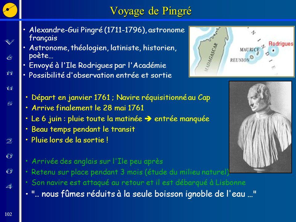 102 Voyage de Pingré Alexandre-Gui Pingré (1711-1796), astronome français Astronome, théologien, latiniste, historien, poète… Envoyé à l Ile Rodrigues par l Académie Possibilité d observation entrée et sortie Départ en janvier 1761 ; Navire réquisitionné au Cap Arrive finalement le 28 mai 1761 Le 6 juin : pluie toute la matinée entrée manquée Beau temps pendant le transit Pluie lors de la sortie .