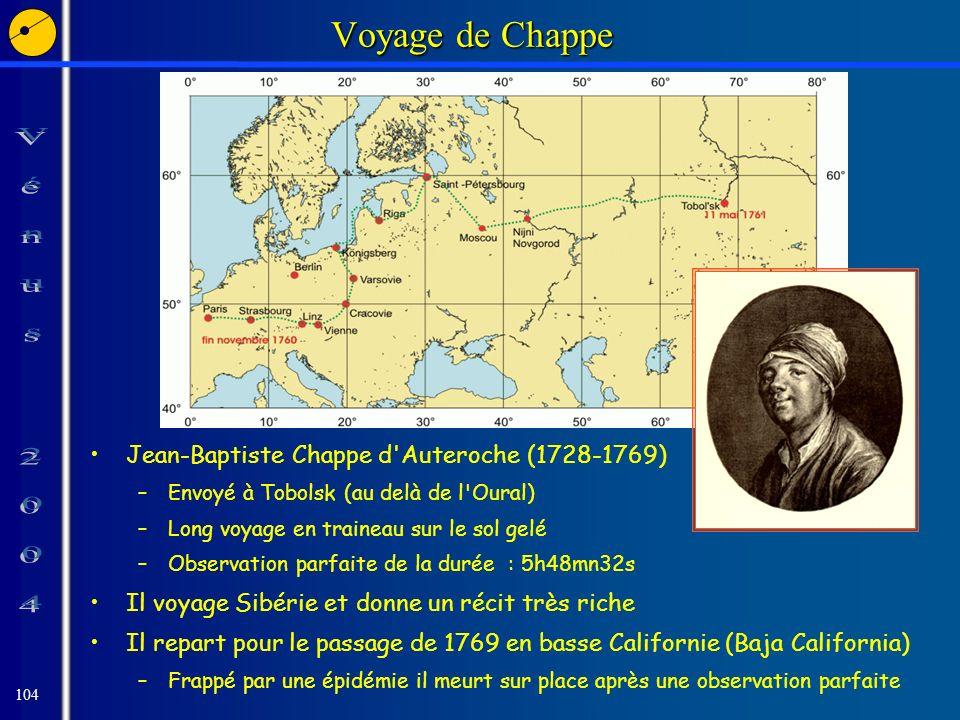 104 Voyage de Chappe Jean-Baptiste Chappe d Auteroche (1728-1769) –Envoyé à Tobolsk (au delà de l Oural) –Long voyage en traineau sur le sol gelé –Observation parfaite de la durée : 5h48mn32s Il voyage Sibérie et donne un récit très riche Il repart pour le passage de 1769 en basse Californie (Baja California) –Frappé par une épidémie il meurt sur place après une observation parfaite