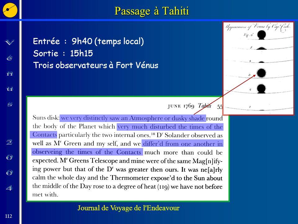 112 Journal de Voyage de l Endeavour Passage à Tahiti Entrée : 9h40 (temps local) Sortie : 15h15 Trois observateurs à Fort Vénus