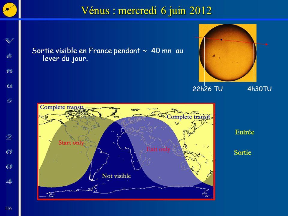 116 Vénus : mercredi 6 juin 2012 Sortie visible en France pendant ~ 40 mn au lever du jour.