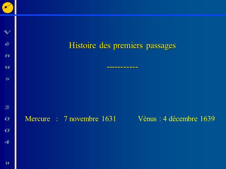 14 Histoire des premiers passages ----------- Mercure : 7 novembre 1631Vénus : 4 décembre 1639