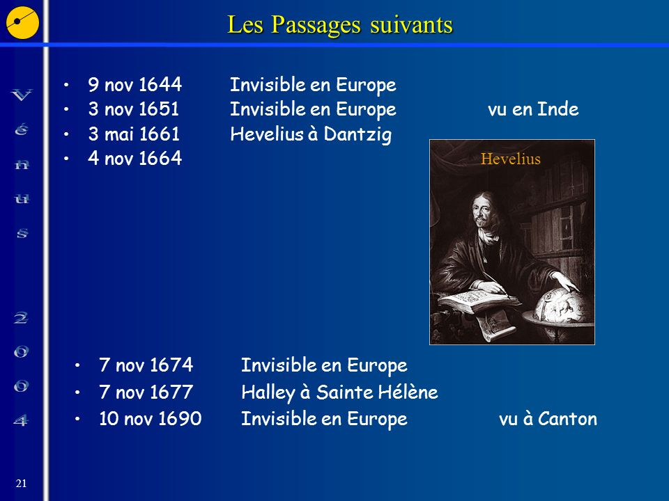 21 Les Passages suivants 9 nov 1644Invisible en Europe 3 nov 1651Invisible en Europevu en Inde 3 mai 1661Hevelius à Dantzig 4 nov 1664 Hevelius 7 nov