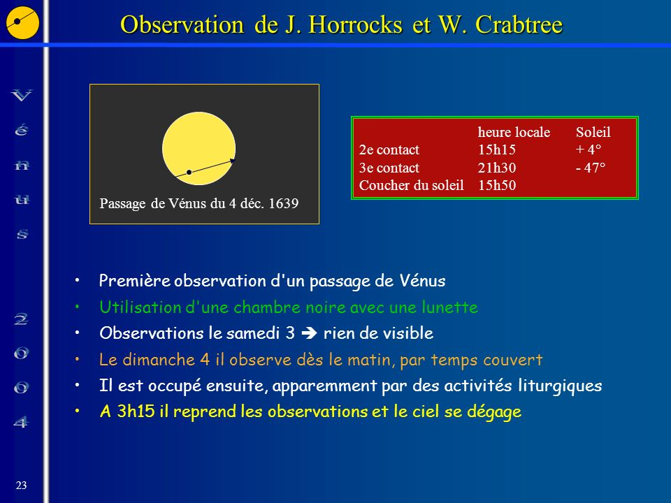 23 Observation de J. Horrocks et W.