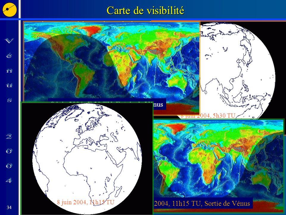 34 Carte de visibilité Phases visibles si le Soleil est levé 8 juin 2004, 5h30 TU 8 juin 2004, 5h30 TU, Entrée de Vénus 8 juin 2004, 11h15 TU, Sortie de Vénus 8 juin 2004, 11h15 TU
