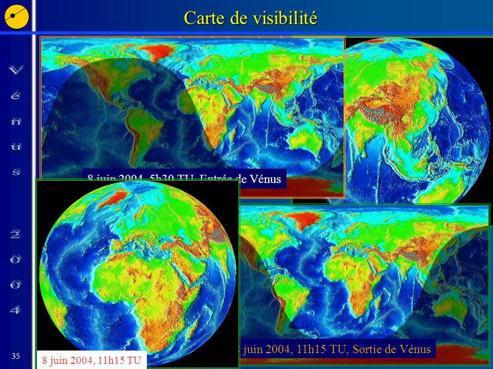 35 8 juin 2004, 5h30 TU Carte de visibilité Phases visibles si le Soleil est levé 8 juin 2004, 5h30 TU, Entrée de Vénus 8 juin 2004, 11h15 TU, Sortie de Vénus 8 juin 2004, 11h15 TU