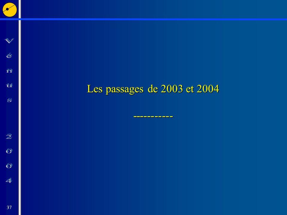 37 Les passages de 2003 et 2004 -----------