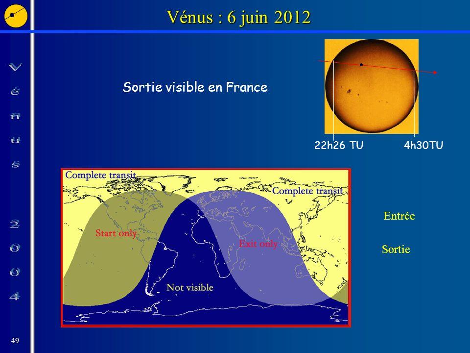 49 Vénus : 6 juin 2012 Sortie visible en France 22h26 TU4h30TU Entrée Sortie