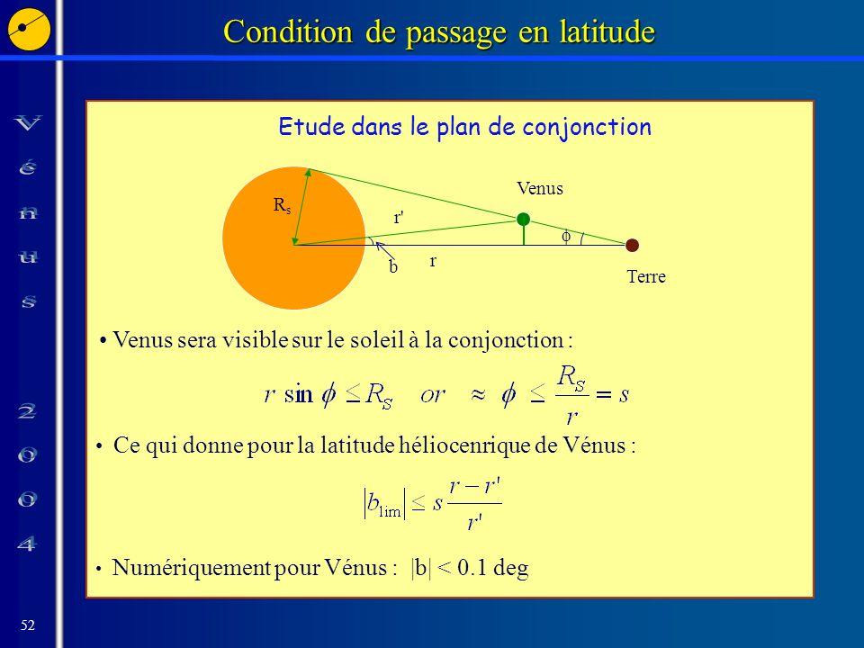 52 Condition de passage en latitude Venus sera visible sur le soleil à la conjonction : Ce qui donne pour la latitude héliocenrique de Vénus : RsRs r r Terre Venus b Numériquement pour Vénus : |b| < 0.1 deg Etude dans le plan de conjonction