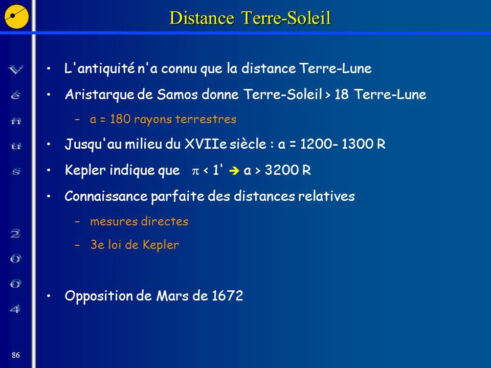 86 Distance Terre-Soleil L antiquité n a connu que la distance Terre-Lune Aristarque de Samos donne Terre-Soleil > 18 Terre-Lune –a = 180 rayons terrestres Jusqu au milieu du XVIIe siècle : a = 1200- 1300 R Kepler indique que 3200 R Connaissance parfaite des distances relatives –mesures directes –3e loi de Kepler Opposition de Mars de 1672