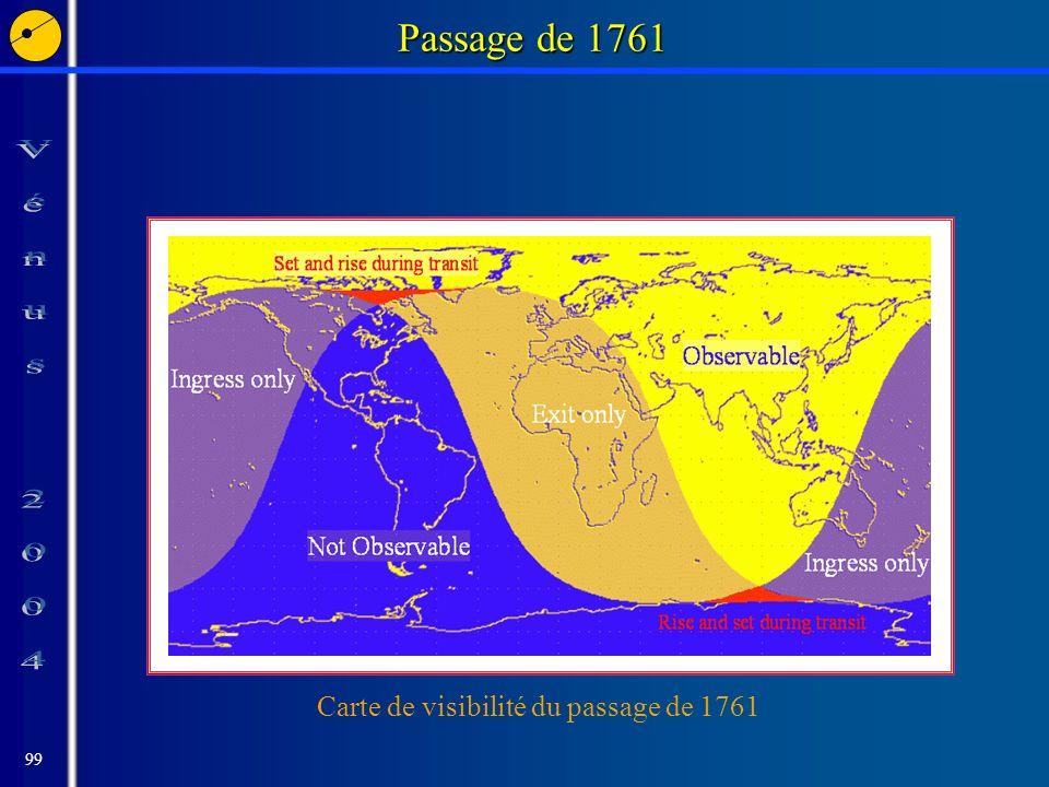 99 Passage de 1761 Carte de visibilité du passage de 1761