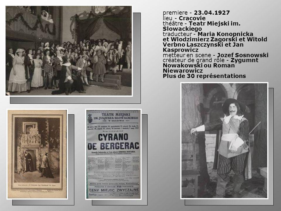 premiere - 23.04.1927 lieu - Cracovie théâtre - Teatr Miejski im. Slowackiego traducteur - Maria Konopnicka et Wlodzimierz Zagorski et Witold Verbno L