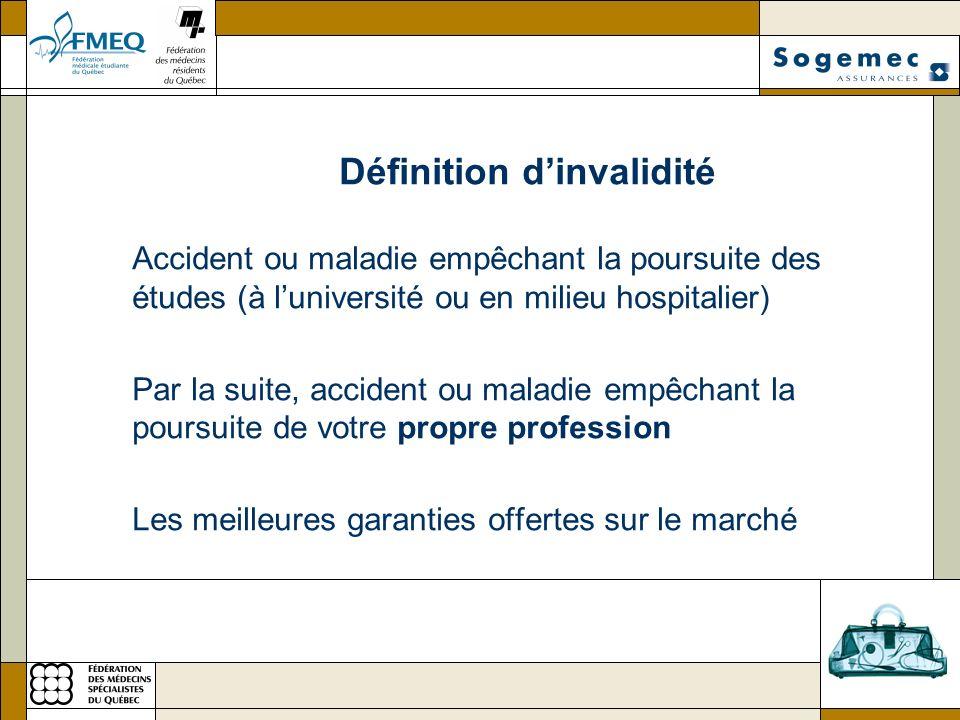 Définition dinvalidité Accident ou maladie empêchant la poursuite des études (à luniversité ou en milieu hospitalier) Par la suite, accident ou maladi