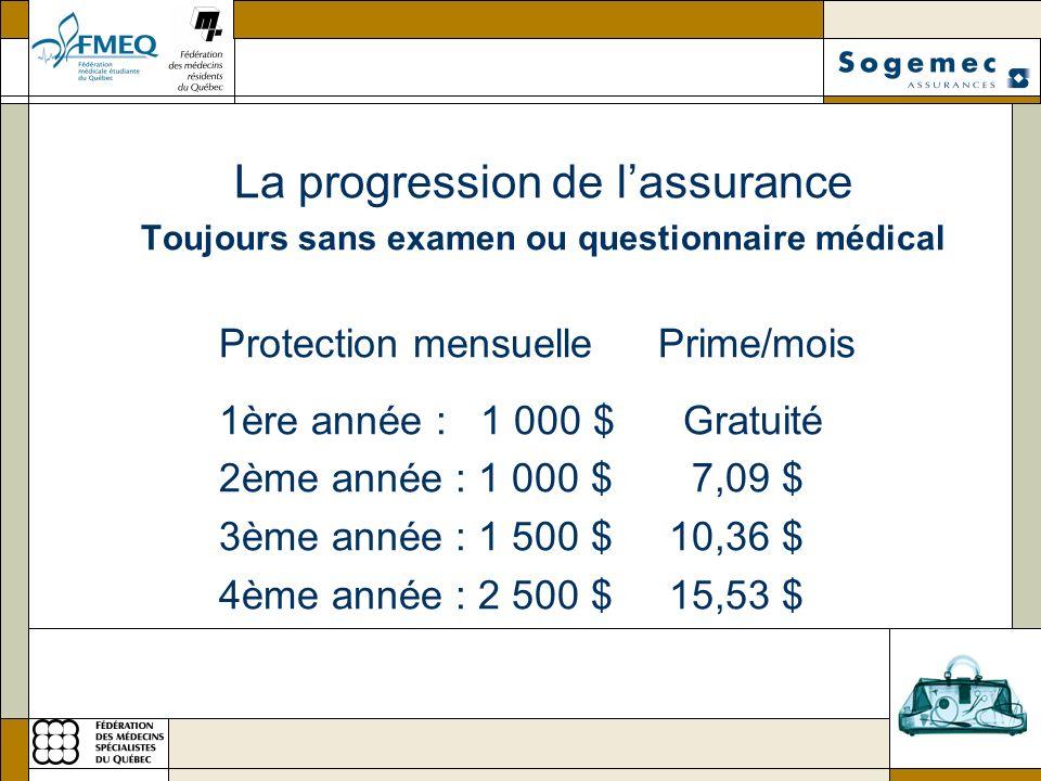 La progression de lassurance Toujours sans examen ou questionnaire médical Protection mensuelle Prime/mois 1ère année : 1 000 $ Gratuité 2ème année : 1 000 $ 7,09 $ 3ème année : 1 500 $ 10,36 $ 4ème année : 2 500 $ 15,53 $