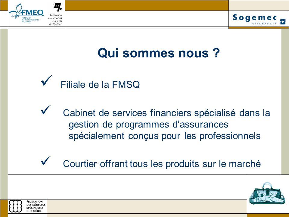 Qui sommes nous ? Filiale de la FMSQ Cabinet de services financiers spécialisé dans la gestion de programmes dassurances spécialement conçus pour les