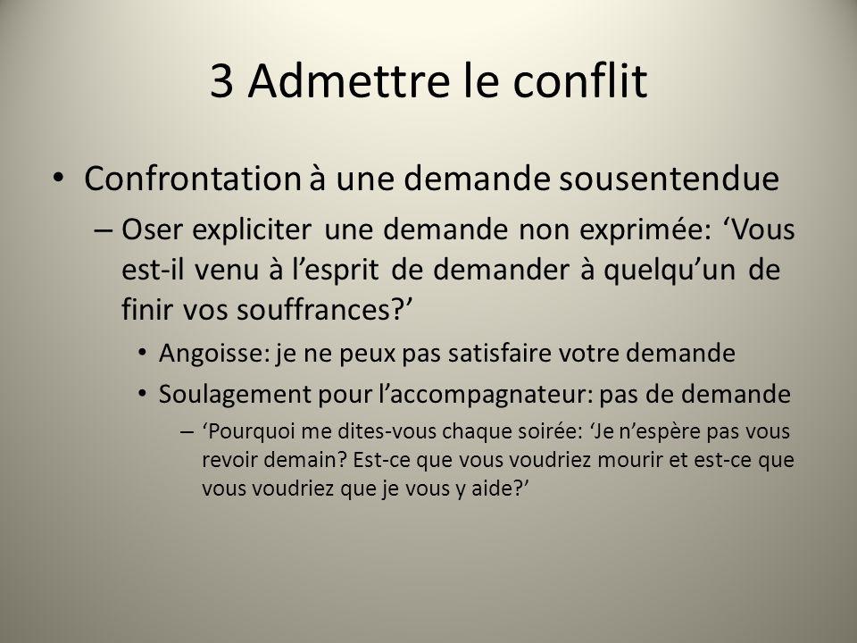 3 Admettre le conflit Confrontation à une demande sousentendue – Oser expliciter une demande non exprimée: Vous est-il venu à lesprit de demander à quelquun de finir vos souffrances.