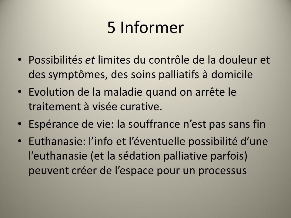5 Informer Possibilités et limites du contrôle de la douleur et des symptômes, des soins palliatifs à domicile Evolution de la maladie quand on arrête le traitement à visée curative.