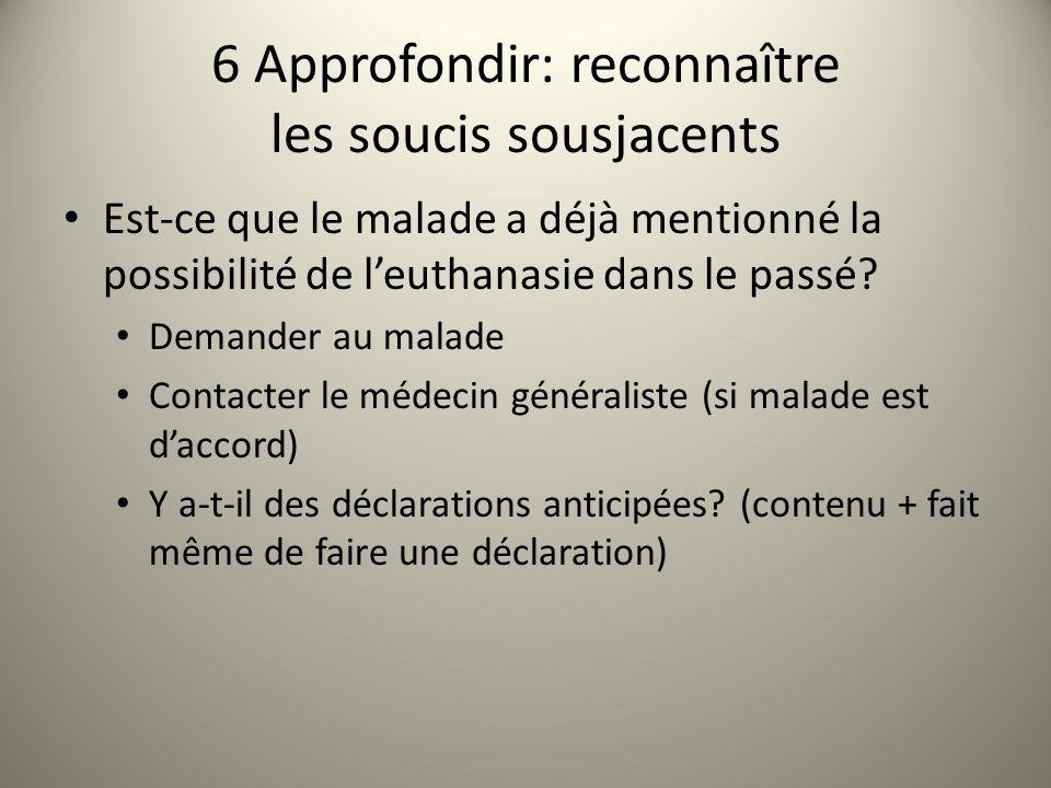 6 Approfondir: reconnaître les soucis sousjacents Est-ce que le malade a déjà mentionné la possibilité de leuthanasie dans le passé.