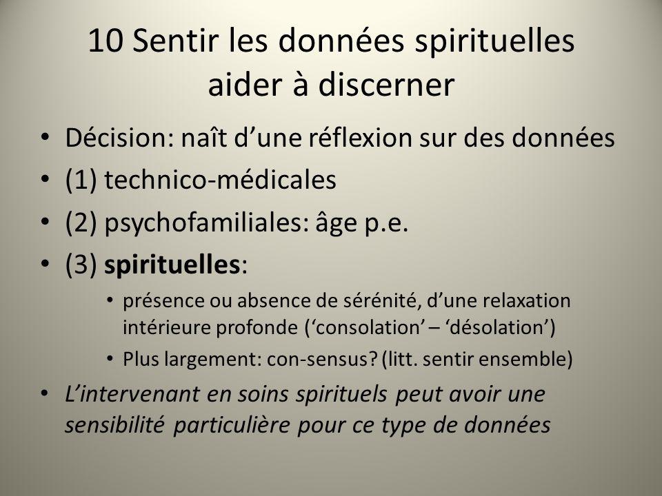 10 Sentir les données spirituelles aider à discerner Décision: naît dune réflexion sur des données (1) technico-médicales (2) psychofamiliales: âge p.e.