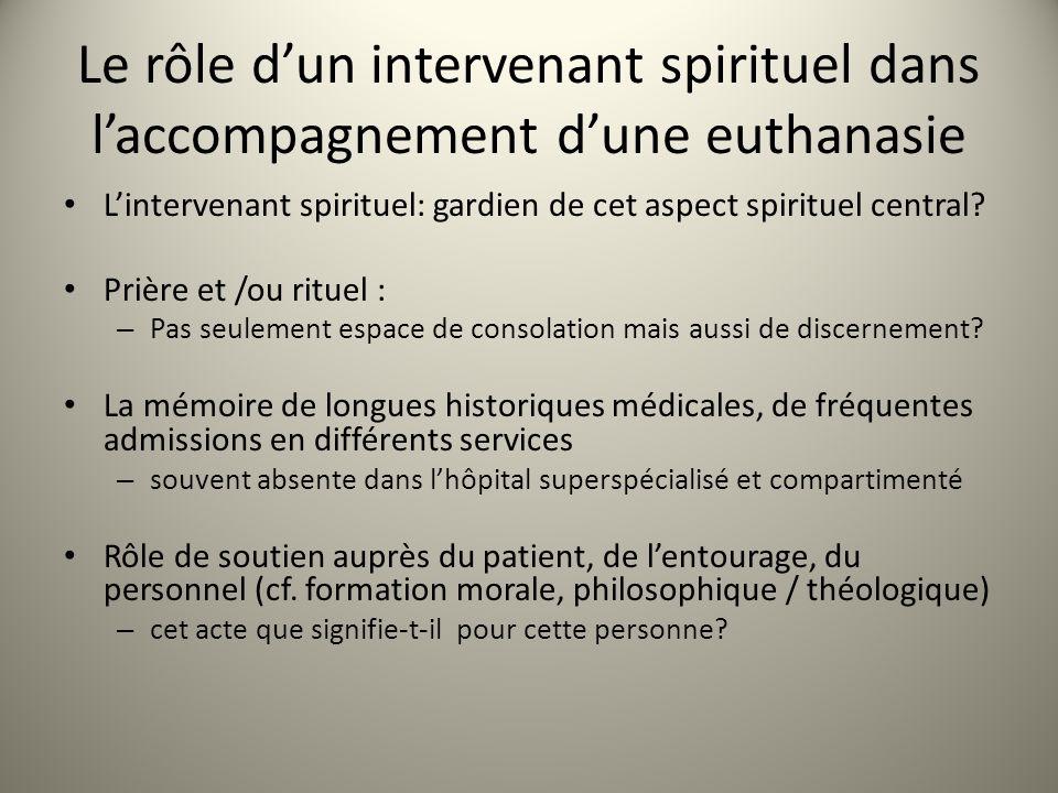 Le rôle dun intervenant spirituel dans laccompagnement dune euthanasie Lintervenant spirituel: gardien de cet aspect spirituel central.