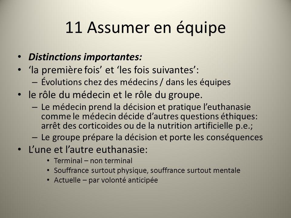 11 Assumer en équipe Distinctions importantes: la première fois et les fois suivantes: – Évolutions chez des médecins / dans les équipes le rôle du médecin et le rôle du groupe.