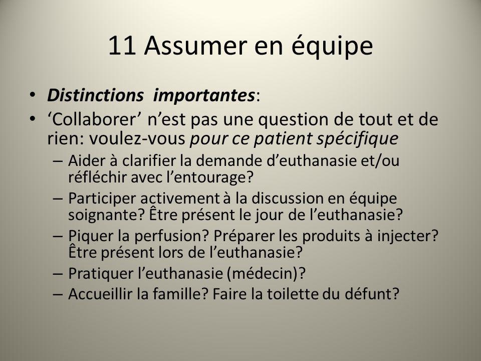11 Assumer en équipe Distinctions importantes: Collaborer nest pas une question de tout et de rien: voulez-vous pour ce patient spécifique – Aider à clarifier la demande deuthanasie et/ou réfléchir avec lentourage.
