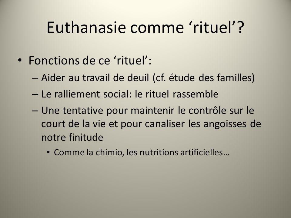 Euthanasie comme rituel. Fonctions de ce rituel: – Aider au travail de deuil (cf.