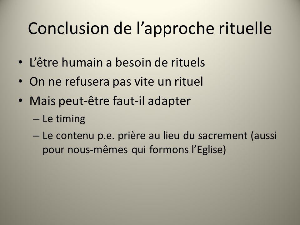 Conclusion de lapproche rituelle Lêtre humain a besoin de rituels On ne refusera pas vite un rituel Mais peut-être faut-il adapter – Le timing – Le contenu p.e.