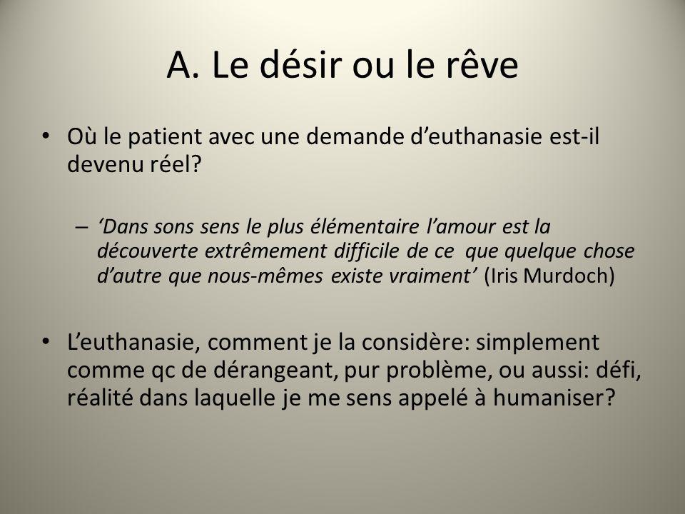 A. Le désir ou le rêve Où le patient avec une demande deuthanasie est-il devenu réel.
