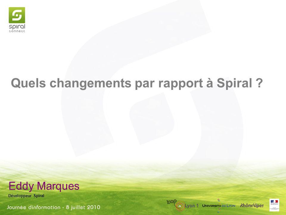 Eddy Marques Développeur Spiral Quels changements par rapport à Spiral ?