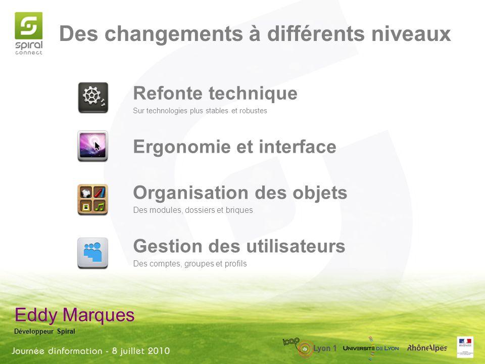 Des changements à différents niveaux Eddy Marques Développeur Spiral Refonte technique Sur technologies plus stables et robustes Ergonomie et interfac