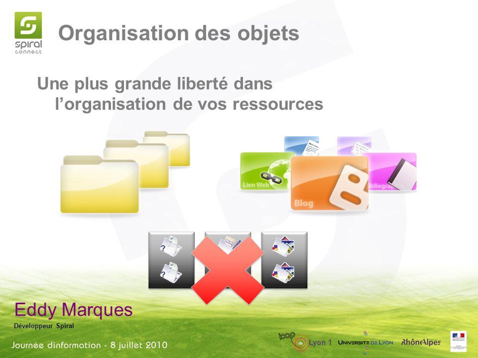 Organisation des objets Eddy Marques Développeur Spiral Une plus grande liberté dans lorganisation de vos ressources