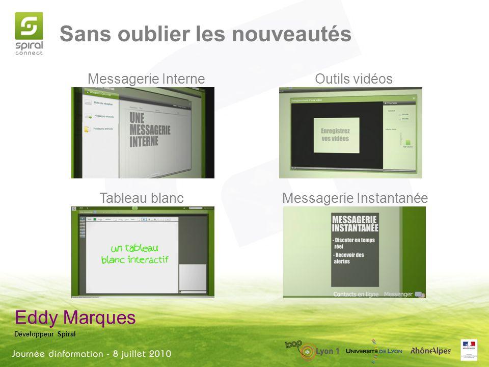 Sans oublier les nouveautés Eddy Marques Développeur Spiral Messagerie Interne Messagerie Instantanée Outils vidéos Tableau blanc