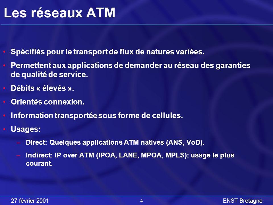 27 février 2001ENST Bretagne 4 Les réseaux ATM Spécifiés pour le transport de flux de natures variées.