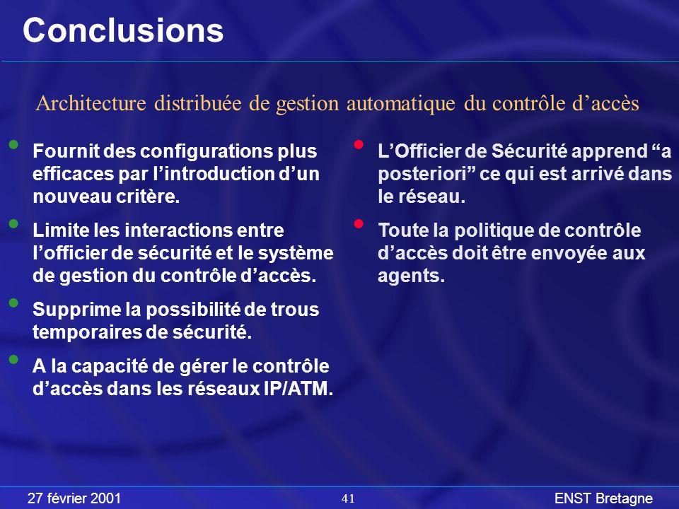 27 février 2001ENST Bretagne 41 Conclusions LOfficier de Sécurité apprend a posteriori ce qui est arrivé dans le réseau.